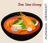 thai food tom yum goong or kung ... | Shutterstock .eps vector #1383563327