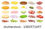 burger ingredients collection.... | Shutterstock .eps vector #1383571697