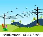 electric poles vector...   Shutterstock .eps vector #1383574754