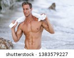 portrait of tanned fit male... | Shutterstock . vector #1383579227