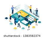 isometric seo analytics team...   Shutterstock . vector #1383582374