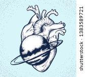 heart world dark illustration... | Shutterstock .eps vector #1383589721