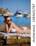 girl at the seaside. adriatic ... | Shutterstock . vector #1383631787