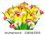 bouquet of daisies  tulips and... | Shutterstock . vector #138363305