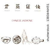 chinese tea ink pen sketch on... | Shutterstock .eps vector #1383646451