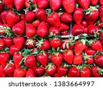 red strawberry background. pipe ... | Shutterstock . vector #1383664997