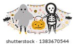 halloween composition with... | Shutterstock .eps vector #1383670544