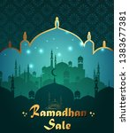ramadan kareem sale with mosque | Shutterstock .eps vector #1383677381