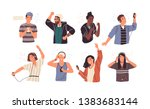 set of joyful people wearing... | Shutterstock .eps vector #1383683144