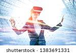 smiling businesswoman in... | Shutterstock . vector #1383691331