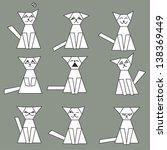 set of funny cats   vector