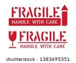box sign fragile for package...   Shutterstock .eps vector #1383695351