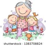 grandmother with grandchilren... | Shutterstock .eps vector #1383708824