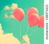 Pink Balloons On Retro Vintage...