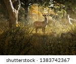 curios deer stands in a forest... | Shutterstock . vector #1383742367