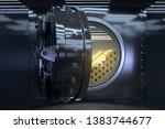 opened vault and gold bars  3d... | Shutterstock . vector #1383744677