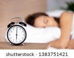 Close Up Of Black Alarm Clock...