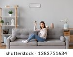 Small photo of Smiling young woman sit relax on cozy couch in living room turn on air conditioner with remote controller, happy girl rest on sofa at home set comfortable temperature on condition system