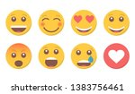 set of smile emoji and like for ... | Shutterstock .eps vector #1383756461