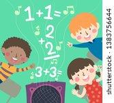 illustration of kids listening...   Shutterstock .eps vector #1383756644