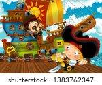 cartoon scene with pirate... | Shutterstock . vector #1383762347