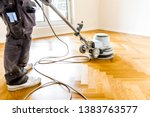 varnishing of oak parquet floor ... | Shutterstock . vector #1383763577