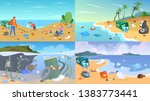 nature pollution set. garbage... | Shutterstock .eps vector #1383773441