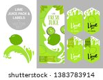 cartoon green lime on juice... | Shutterstock .eps vector #1383783914