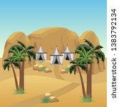 nomad camp in desert. landscape ... | Shutterstock .eps vector #1383792134