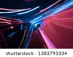 pov of car driving at night... | Shutterstock . vector #1383793334