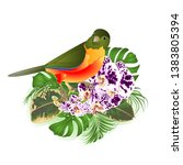 small tropical bird  with... | Shutterstock .eps vector #1383805394