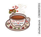 cup of coffee and hand drawn...   Shutterstock .eps vector #1383809201