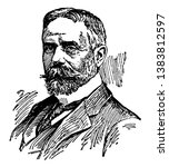 Sir Gilbert Parker, 1862-1932, he was a Canadian novelist and British politician, vintage line drawing or engraving illustration