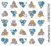 abstract vectors set  isometric ... | Shutterstock .eps vector #1383825254