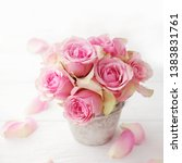 pink rose flowers in a vase.... | Shutterstock . vector #1383831761