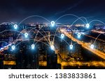 modern city with wireless... | Shutterstock . vector #1383833861