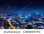 modern city with wireless... | Shutterstock . vector #1383834791