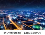 modern city with wireless... | Shutterstock . vector #1383835907