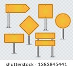 set of yellow road signs. blank ... | Shutterstock .eps vector #1383845441