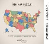usa map puzzle   retro colors | Shutterstock .eps vector #138385274