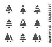 christmas tree collection icons ... | Shutterstock .eps vector #1383859514