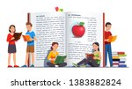 young people group reading... | Shutterstock .eps vector #1383882824