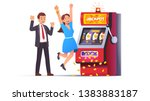 slot machine jackpot win. lucky ... | Shutterstock .eps vector #1383883187