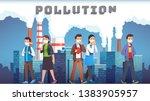 smog polluted urban landscape... | Shutterstock .eps vector #1383905957