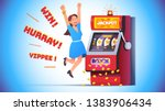 slot machine jackpot win. lucky ... | Shutterstock .eps vector #1383906434
