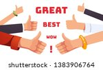 many thumbs up gesturing hands. ... | Shutterstock .eps vector #1383906764