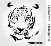 Tiger sketch isolated background. - stock vector