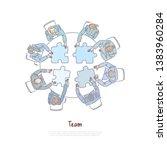 colleagues assembling jigsaw...   Shutterstock .eps vector #1383960284