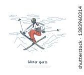 skier in sportswear  jumper...   Shutterstock .eps vector #1383960314