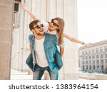 smiling beautiful girl and her... | Shutterstock . vector #1383964154